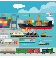 Logistics in port infographics template vector