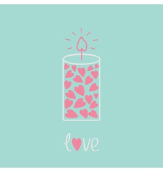 Love candle with hearts Pink and blue Love card vector image
