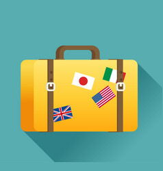 Luggage symbol of flat color icon with long shadow vector