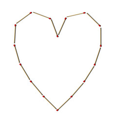 Matches in shape heart vector