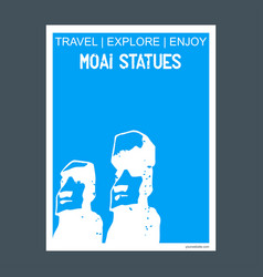 Moai statues easter island chile monument vector