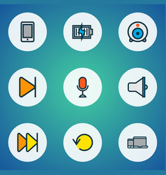 multimedia icons colored line set with end vector image
