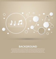 music notes icon on a brown background with vector image
