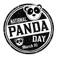 national panda day grunge rubber stamp vector image