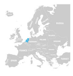 netherlands marked by blue in grey political map vector image