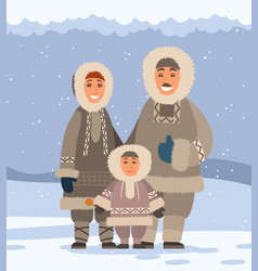 Northern family in traditional fur clothes vector
