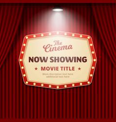 Now showing movie in cinema poster design retro vector
