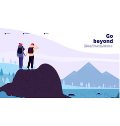 outdoor adventure landing couple with backpack vector image