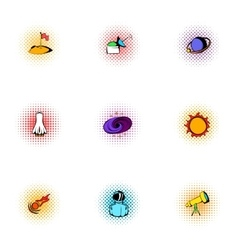 outer space icons set pop-art style vector image