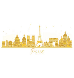 paris city skyline golden silhouette vector image