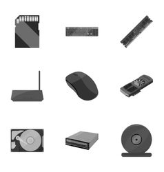 Personal computer set icons in monochrome style vector