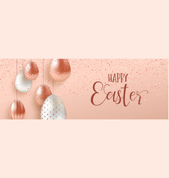 Pink copper easter eggs luxury web banner vector