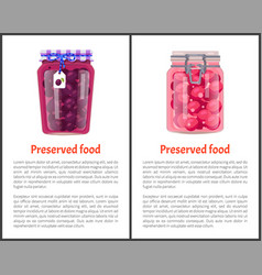 Preserved food poster canned plums sweet berries vector