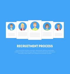 Recruitment process banner template with candidate vector