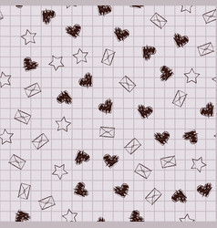 school copybook pattern hearts envelopes stars vector image