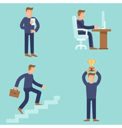 set business and career concepts in flat style vector image