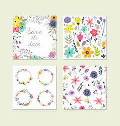 set cute colorful floral elements vector image