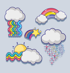 Set cute rainbows with clouds design vector