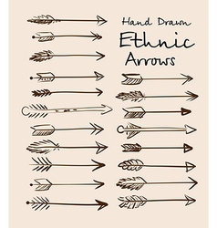 Set ethnic arrows hand-drawn on a beige vector