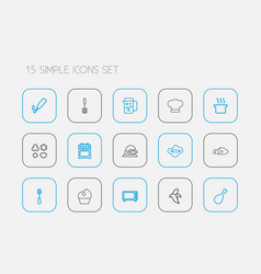 Set of 15 editable meal icons line style includes vector