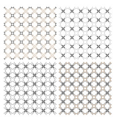 set of four delicate seamless patterns in arabic vector image