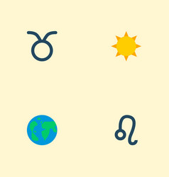 Set of icons flat style symbols with leo su vector