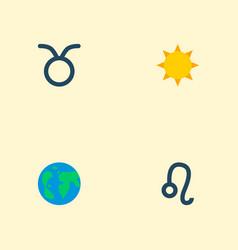 set of icons flat style symbols with leo su vector image
