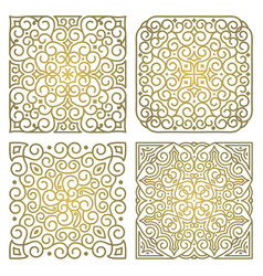 set of square gold ornament patterns vector image