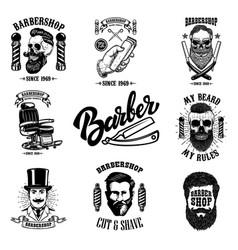 set of vintage barber shop emblems badges and vector image