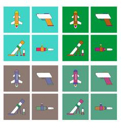 Set of war equipments in color backgrounds vector