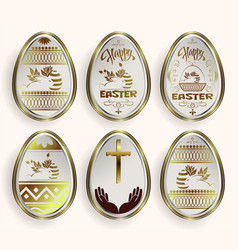 set of white easter eggs with gold border vector image