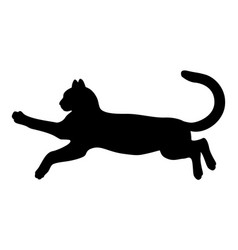 Silhouette a black jumping cat vector