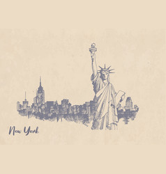 sketch statue liberty on kraft paper vector image