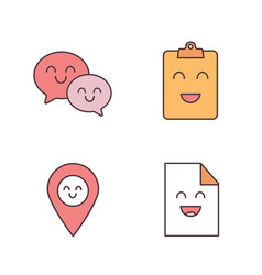 smiling items color icons set vector image