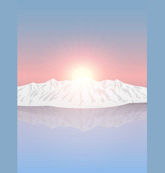 Snowy mountains at sunrise vector