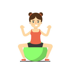 Sporty girl in sportswear with exercise ball vector