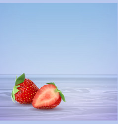 strawberries half and whole on a blue vector image