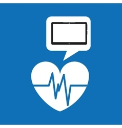 Technology heart medical social media design vector