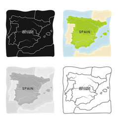 Territory of spain icon in cartoon style isolated vector