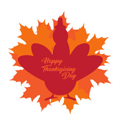 thanksgiving day label with a turkey silhouette vector image