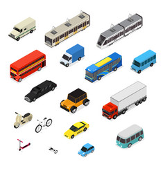 transport car 3d icons set isometric view vector image
