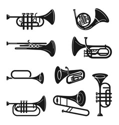 Trumpet icons set simple style vector