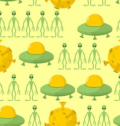 UFO and alien seamless pattern background vector