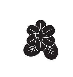 violet flower black concept icon violet vector image