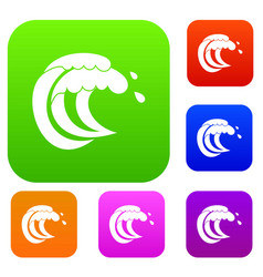 Wave of sea tide set collection vector