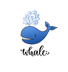 Whale cartoon kids print for t-shirt design vector