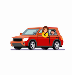 Woman rides in red car with child vector