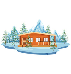 wooden cottage in snow field vector image