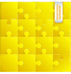 Yellow plastic pieces puzzle game vector