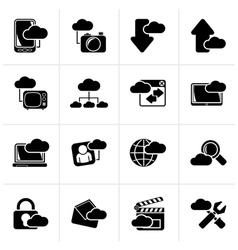 Black cloud services and objects icons vector